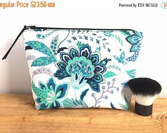 Large Makeup Bag - Floral Pouch - Gift For Her - Womens Birthday Gift - Bridesmaid Gift - Large Zipper Pouch - Large Cosmetic Bag