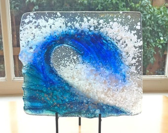 3rd anniversary gift, Blue wave, Fused glass, iridized glass, Hand made, gift for friend