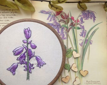 Floral Bluebell Botanical Embroidery Hoop