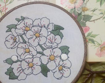 Floral Apple Blossom Botanical Embroidery Hoop