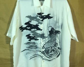Vintage Japanese Makku Arien Fish Art Graphic Silk Shirt