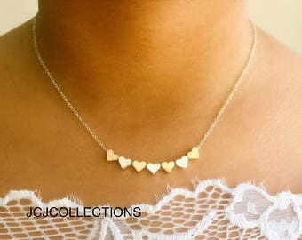 Tiny 7 Heart Necklace / Gold & Silver Heart / 925 Silver Chain