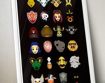 Legend of Zelda Majora's Mask – Mask Trophy Collection video game wall art poster / fine art print