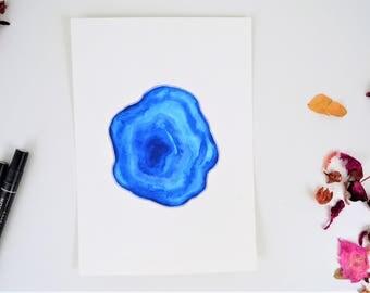 Blue Geode Watercolor Art Print