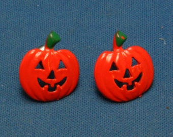 Vintage Jack O' Lantern Pumpkin Halloween Orange and Green Enamelled Earrings