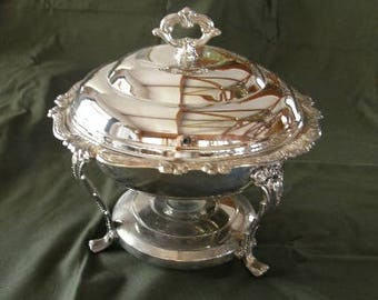 Free Shipping * Silver Plate Chafing Dish w/Arcuisine Glass Dish * Save 30 Bucks on Shipping Costs!