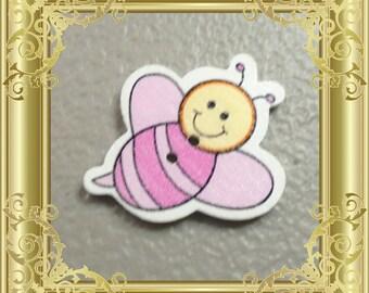 Bee Cross Stitch Needle Minder - Pink
