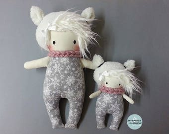 Small and large rag doll, art doll, Teddy, the model name: Floky