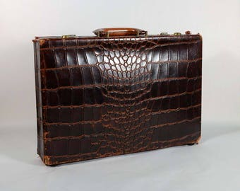 Vintage Leather Faux Alligator Briefcase Doctors Bag, Distressed Aged Leather Attache Case, Prop Display  #1