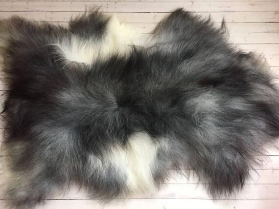 Rugged, long haired, LARGE sheepskin rug spael sheep throw grey 17206