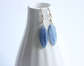Denim blue Kyanite Earrings ,Gemstone Dangle earrings,Blue Kyanite earrings in gold filled,Kyanite Jewelry,Gift for her