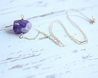 Purple Amethyst Faceted Nugget Necklace - Gold Amethyst Necklace - Purple Gemstone Necklace - February Birthstone Necklace -Gift for her
