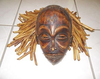 Rare hand carved wooden tribal mask
