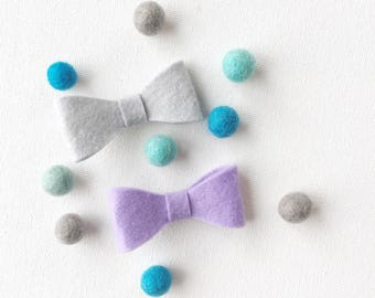grey and purple bow tie set, small bow ties, toddler bow tie set, gift for ring bearer, clip on bow tie, felt bowtie, boy baby shower gift