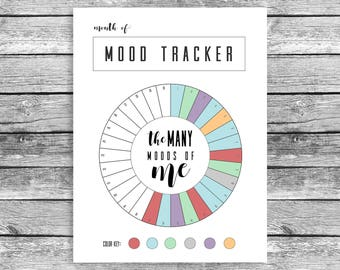 Monthly Mood Tracker Circle, Happy Planner Classic, Mood Chart, Printable, PDF Download, Track Your Mood, Instant, Bullet Journal Shortcut