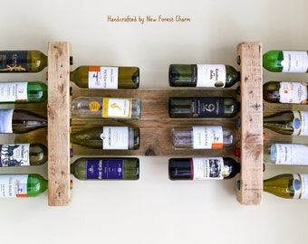 Large Wine Rack / Rustic Wine Rack /  Reclaimed Wood / Farmhouse Rack / Rustic wood decor / Wall Display