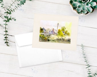 Pony Club Hack Equestrian Country Landscape Print Riders Crumbling Stables  Bridge Autumn Greens Wild Vegetation Watercolour Keepsake Card