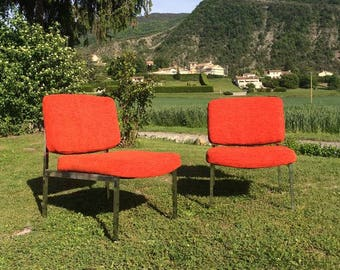 Vintage red orange lounge chairs - 1960s 1970s