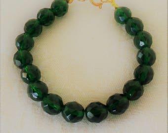 Green Aurora Borealis Crystal Beaded Bracelet