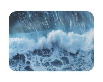 Wave Bath Mat, Bath Rugs, Blue Nature, Sea Photo Rug, Ocean Shower