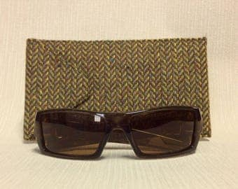 Welsh tweed wider glasses/spectacles/sunglasses case in brown, beige & yellow