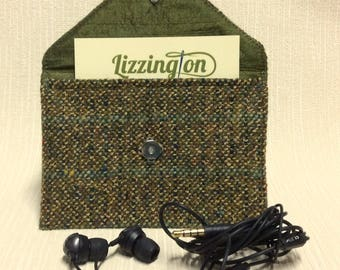 Welsh tweed business card case/headphone case/pouch in olive green with teal stripe
