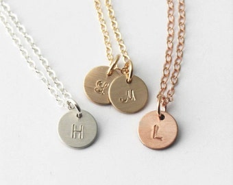 TINY Initial Necklace, Dainty Initial Necklace, Silver, Rose or Gold Personalized Necklace, Layering Necklace, Little Initial Necklace