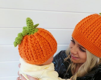 PLAYFUL PUMPKIN HAT Crochet Pattern Halloween Hat Crochet pattern Crochet Pumpkin Hat Pattern - 6 sizes Baby Toddler Child Teen Women Mens