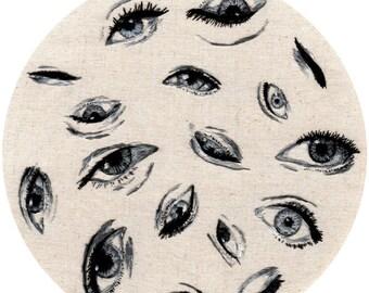 "Hand Embroidered Eyes // Original Artwork // Hand Embroidery // 8"" Hoop // Illustration"