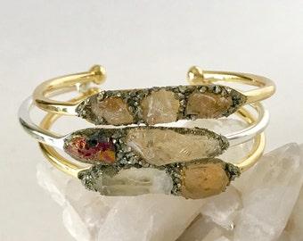 November Birthstone, Raw Citrine Jewelry, Bohemian Christmas Gift, Citrine November Jewelry, Peacock ore Jewelry, Gift for November