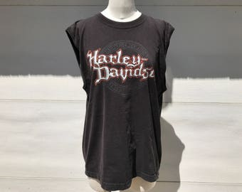 harley davidson muscle tank t shirt cut off