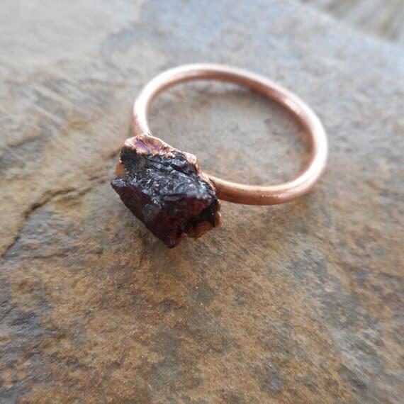 Raw Garnet Copper Ring - Garnet Ring - Rough Garnet Ring- Copper Electroformed Ring