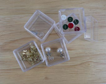 set of 60 mini clear plastic boxes with lid, gift box, beads box, jewelry box, miniature boxes, earring box, size 3cm x 3cm x 2cm