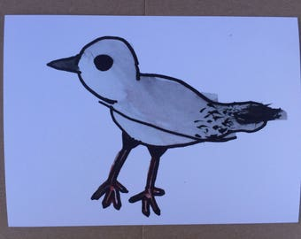 Piping plover beach bird watercolor print 5x7 inches