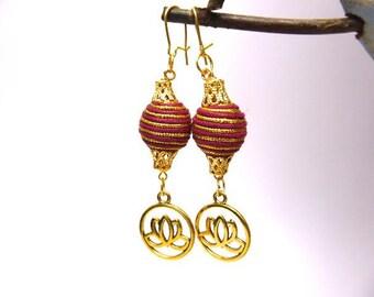 Earrings Indian lotus flower in golden metal