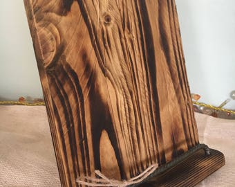Tablet Holder - Recipe Book Stand - IPad Stand - Wood Ipad Holder - Steel and Wood Tablet Holder -  Reclaimed Wood Tablet Holder