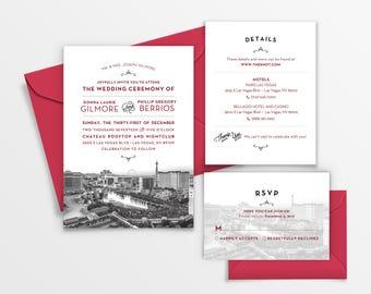Las vegas wedding invitations etsy for Wedding invitations las vegas nv