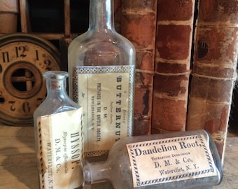 Set of 3 Bottles -  Old bottles with new label