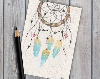 ACEO, dreamcatcher #7, art, original watercolour, native american, original painting, tiny artwork, watercolor painting, miniature painting