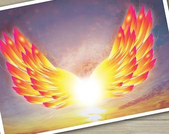angel wings art print, spiritual art print digital art wings giclee print phoenix wings uplifting art wings of fire flying wings wall art