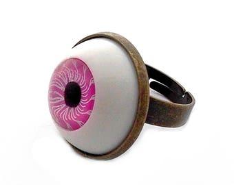 ring pink cabochon eyes doll globe human eye anatomy 20mm brass bronze