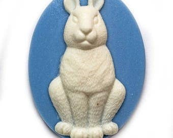 Cameo cabochon rabbit animal 30x40mm alice blue