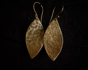 Earrings hammered brass long