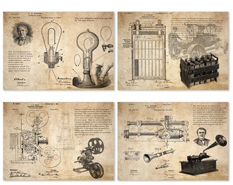 Edison invention cell electric lamp phonography projecting kinetoscope vintage patent art prints 4 in 1 set /edu art unframed
