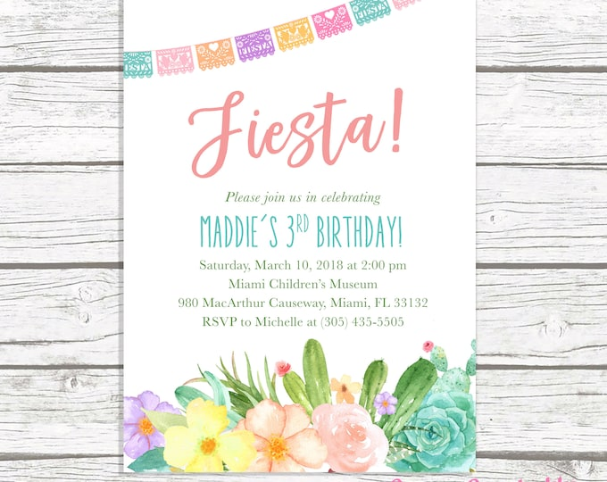 Fiesta Birthday Invitation, Cactus Birthday Invitation, Fiesta First 1st Birthday Invitation, Succulent Invitation, Cinco de Mayo Invite