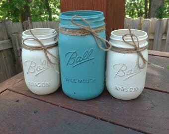 Painted Mason Jars, Mason Jar Set, Mason Jar Decor, Rustic Home Decor, Rustic Centerpiece, Country Home Decor, Rustic Home Decor