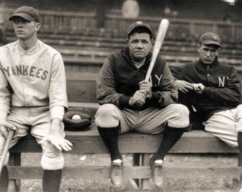 Babe Ruth photo print poster vintage New York Yankees baseball photograph Babe on the bench sports 1920s