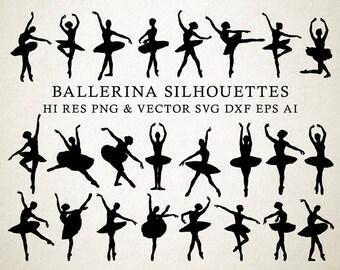 Ballerina SVG, Ballet SVG, Ballerina Silhouette, Ballet Silhouette Vector Cut Files svg dxf eps png Silhouette Cameo Cricut Transfer Cutting