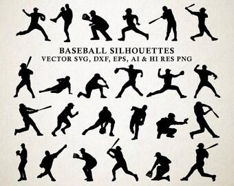Baseball SVG Silhouette, Baseball Silhouette, Baseball Cut Files Baseball vector svg dxf eps png Silhouette Cricut Transfer, Cutting Machine