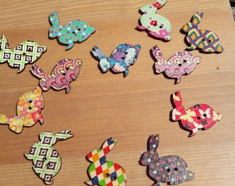 Rabbit buttons, bunny buttons, pretty buttons, multi-coloured buttons, 2 hole buttons, wooden buttons, lot buttons, boutons, scrapbook